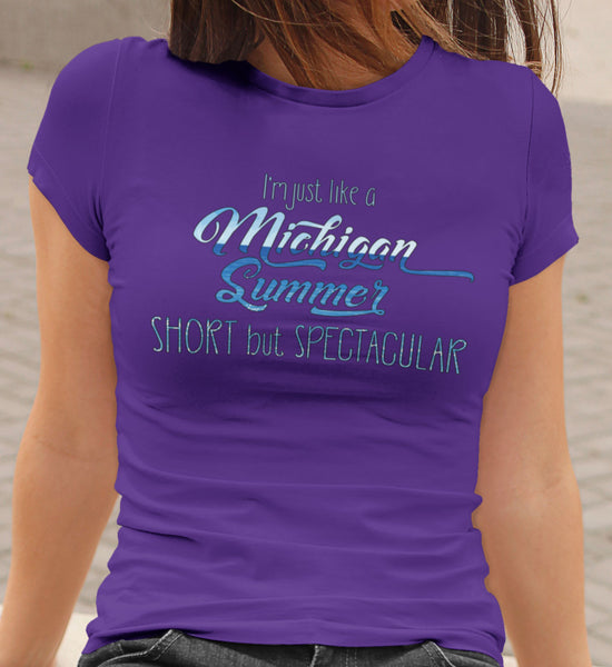 Michigan Summer Women's Cut T-shirt | Michigan Short Girl Shirt | Bella+Canvas 6004 Ladies