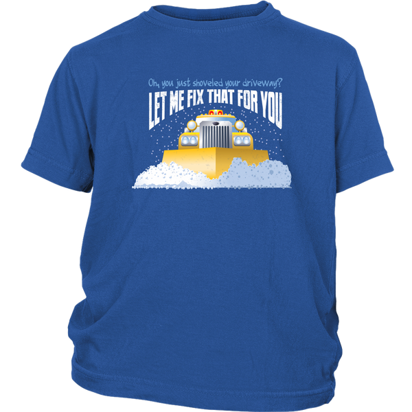 Funny Snow Plow Driver Youth Shirt - Great Gift for Kids Who Love Trucks