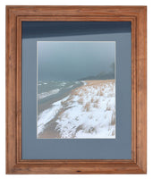 A Storm Roars In On a Winter Beach in Ontonagon - Set of 2 Framed Photos