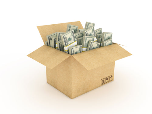 cardboard box containing money straps