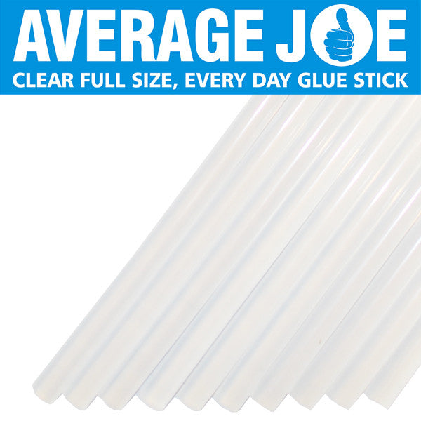 "Average Joe crystal clear 1/2"" hot melt glue sticks"