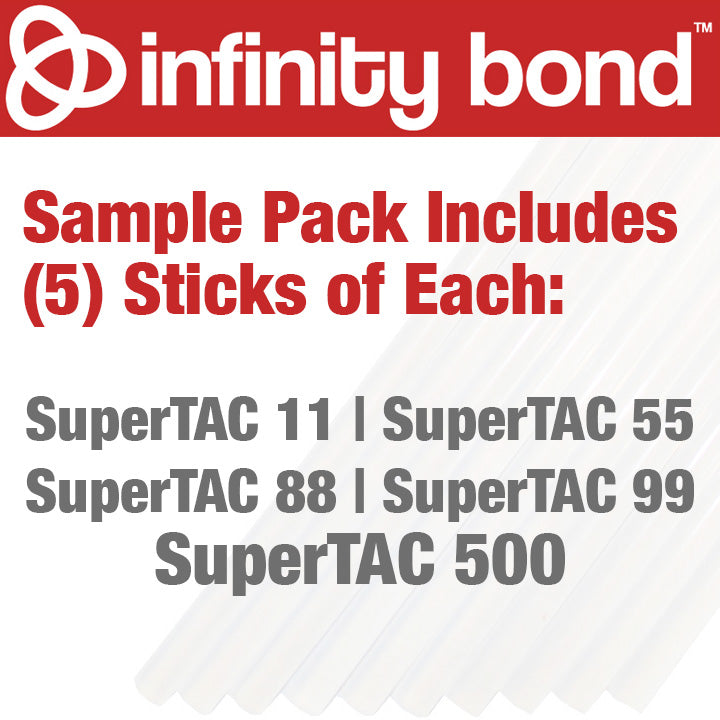 Infinity Bond SuperTAC hot melt glue stick sample pack