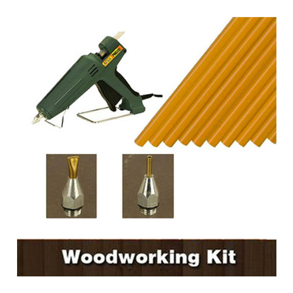 Woodworking Hot Melt Kit - Gun, Glue Sticks and Accessories