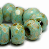 Turquoise Green Picasso Roller Czech Glass Beads 12x8mm (4 pcs) 145V3
