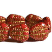 Czech Glass Beads Trilobite Red Gold Wash 11x10mm (8 pcs) 410V3