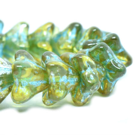 NEW Chartreuse Turquoise Wash Mercury Look Bell Flower Czech Glass Beads 8x5mm (25 pcs) 429V3