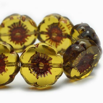 Green Olive Flower Glass Beads Hawaiian Flower Czech Glass Beads 12mm (6 pcs) 72V3