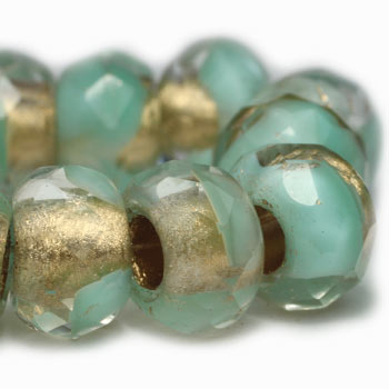 Green Turquoise Gold Lined Roller Czech Glass Beads 12x8mm (4 pcs) 322AV3