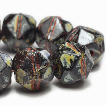 Black Picasso English Cut Czech Glass Beads 10mm (10 pcs) 349V3