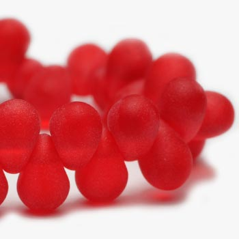 LAST CHANCE Matte Red Drop Glass Beads Red Drops Czech Glass Beads 6x4mm (50 pcs) 313V3