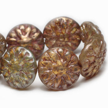Opal Brown Beige Bronze Washed Dahlia Czech Glass Beads 14mm (4 pcs) 87V3
