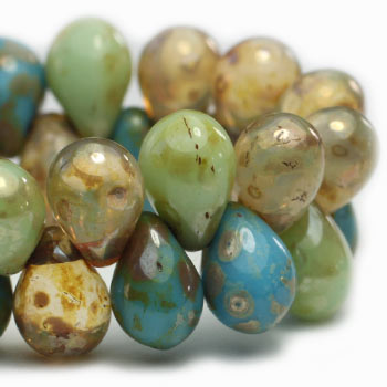 Mint Drops Glass Beads Sky Blue Drop Czech Glass Beads 7x5mm (25 pcs) 14V3