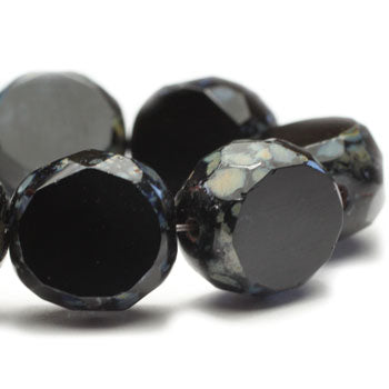 LAST CHANCE Black Czech Faceted Round Picasso Black Czech Glass Beads 12mm (4pcs) 131V3