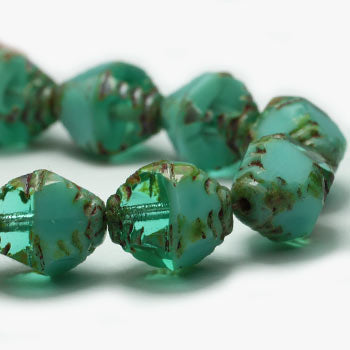 Green Aqua Bicones Turquoise Opaque Bicone Czech Glass Beads 10x8mm (10pc) 4V3
