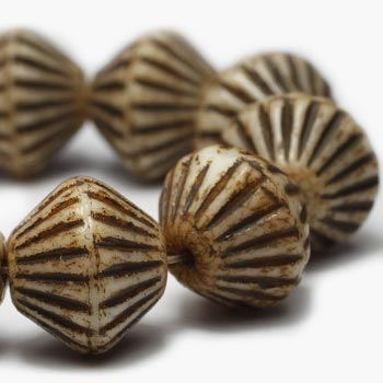 Tan African Bicone Czech Glass Beads Brown Bicone 11mm (6 pcs) 3V3