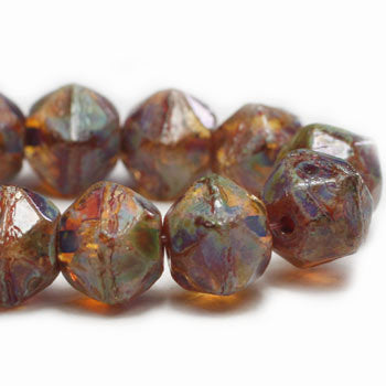 Amber Blue Gray Brown Picasso English Cut Czech Glass Beads 8mm (10 pcs) 304V3