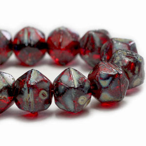 Red Picasso English Cut Czech Glass Beads 8mm (10 pcs) 273V3