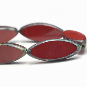 Chestnut Red Czech Glass Beads Red Glass Beads Oval 17x8mm (4 pcs) 189V3