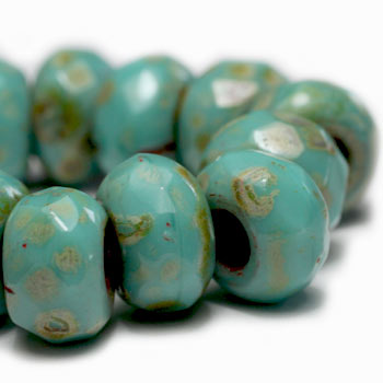 Turquoise Picasso Roller Czech Glass Beads 9x6mm (4 pcs) 399V3