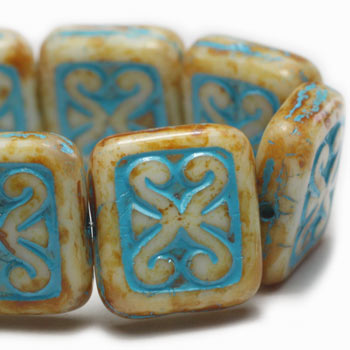 Honey Turquoise Wash Carved Rectangle Czech Glass Beads 12x11mm (6 pcs) 172V3