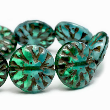 Green Blue Opal Brown Washed Dahlia Czech Glass Beads 14mm (4pcs) 88V3