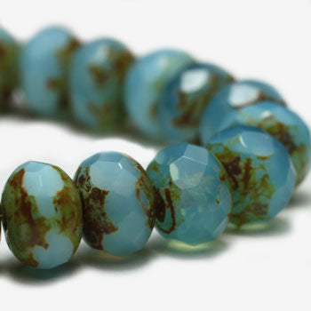 NEW Sky Blue Picasso Rondelle Czech Glass Beads 7x5mm (10 pcs) 441V3