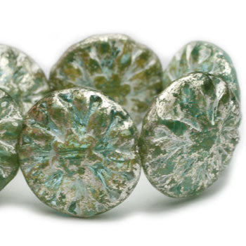 Green Opal Washed Mercury Look Dahlia Czech Glass Beads 14mm (4 pcs) 221V3