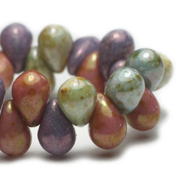 Green Purple Metallic Pink Drop Czech Glass Beads 6x4mm (50 pcs) 314V3