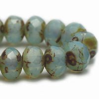 Aqua Milky Opal Picasso Rondelle Czech Glass Beads 5x3mm (30 pcs) 298V3B