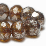 Amber Silver Rondelle Czech Glass Beads 8x6mm