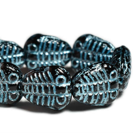 Czech Glass Beads Trilobite Black Blue Wash 11x10mm (8 pcs) 409V3