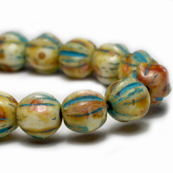 Cream Turquoise Melon Czech Glass Beads 6mm (25 pcs) 106V3