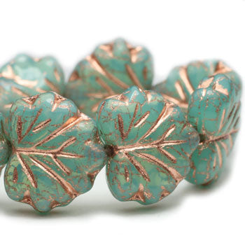 Green Aqua Copper Maple Leaves Czech Glass Beads 10x13mm (10 pcs) 105V3
