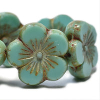 NEW Sea Green Picasso Hibiscus Flower Czech Glass Beads 21mm (1 pc) 405V3