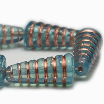 Czech Glass Aqua Copper HoneyComb Czech Glass Beads 19mm (6pcs) 94V3