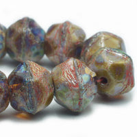 NEW Amber Blue Picasso English Cut Czech Glass Beads 10mm (10 pcs) 442V3