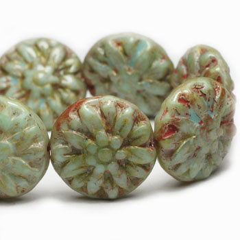 Green Turquoise Washed Dahlia Czech Glass Beads 14mm (4pcs) 84V3