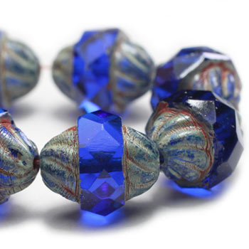 Sapphire Blue Turbine Czech Glass Beads 11x10mm (6 pcs) 246V3