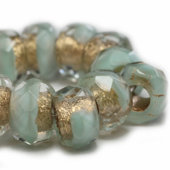 Mini Turquoise Gold Lined Roller Czech Glass Beads 9x6mm (10pc) 235V3