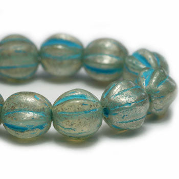 NEW Milky Aqua Mercury Look Melon Czech Glass Beads 5mm (25 pcs) 439V3