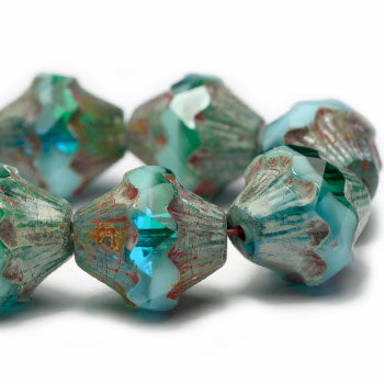 Turquoise Green Blue Baroque Bicone Czech Glass Beads 11x10mm (4 pcs) 250V3