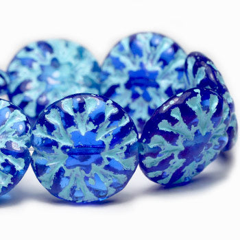 Ocean Blue Washed Dahlia Flower Czech Glass Bead 14mm (4pcs) 251V3