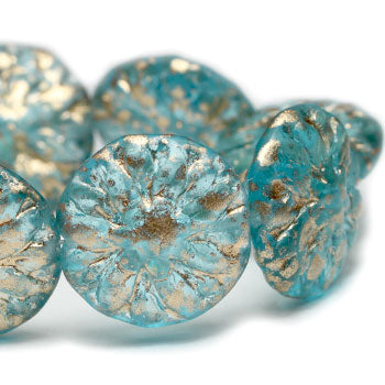 Aqua Gold Washed Dahlia Flower Czech Glass Beads 14mm (4pcs) 289V3