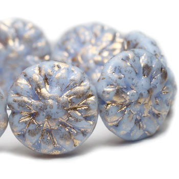 14mm Czech Glass Bead Alice Blue Dahlia Flower