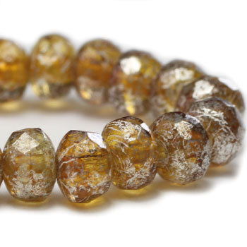 Amber Silver Rondelle Czech Glass Beads 5x3mm