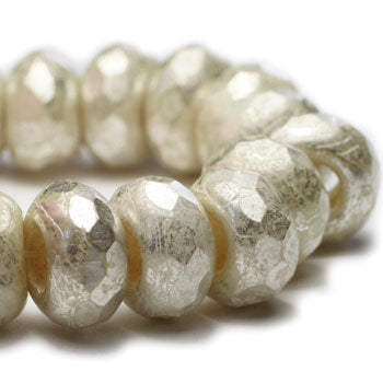 Ivory Mercury Look Roller Czech Glass Beads Cream Roller Beads 9x6mm (10 pcs) 373V3