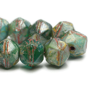 NEW Green Turquoise Picasso English Cut Czech Glass Beads 8mm (10 pcs) 407V3