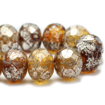 Amber Silver Rondelle Czech Glass Beads 7x5mm