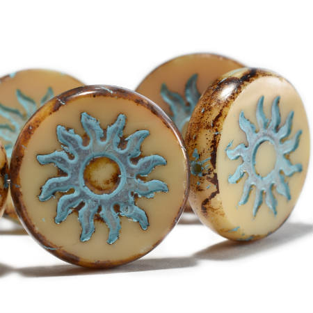 Beige Sun Coin Turquoise Wash Picasso Czech Glass Beads 22mm (1 pc) 407AV3