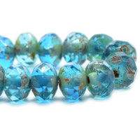NEW Pacific Blue Picasso Rondelle Czech Glass Beads 5x3mm (30 pieces) 428AV3